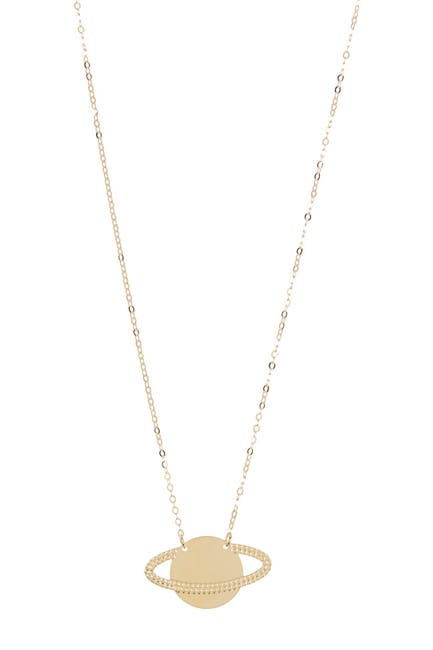 Image of KARAT RUSH 14K Yellow Gold Saturn Pendant Necklace