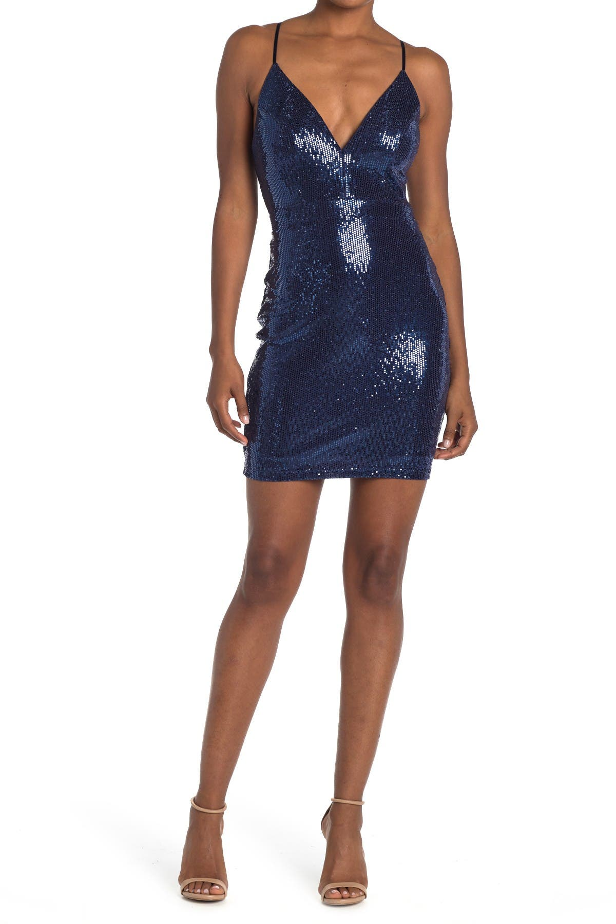 Love, Nickie Lew Lace Back Sequin Bodycon Mini Dress