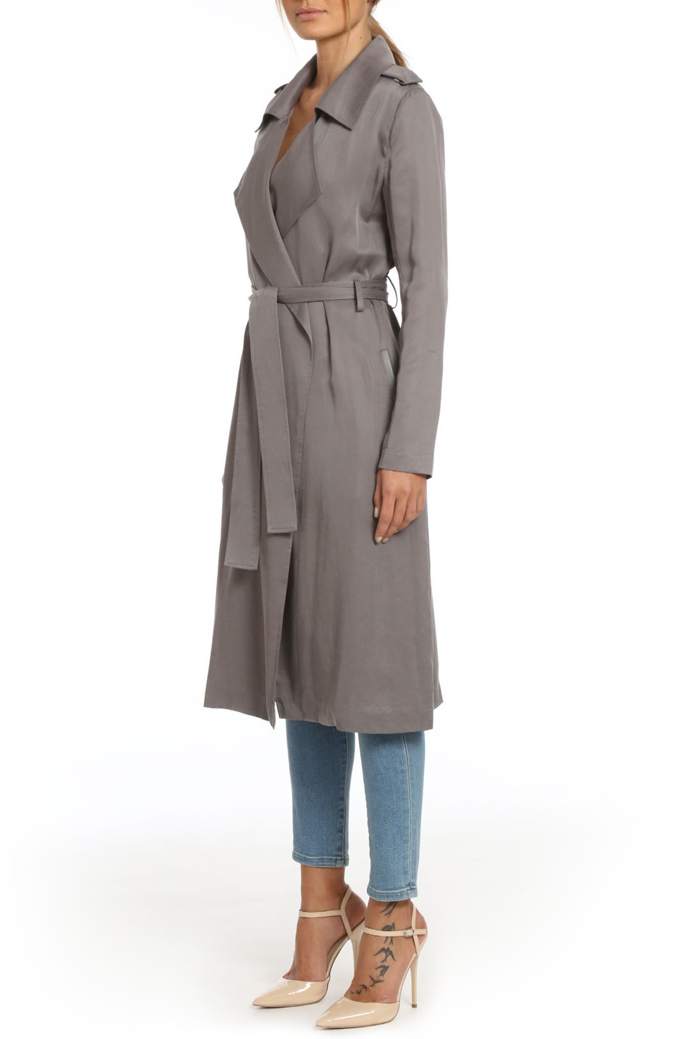 ,                             Badgley Mischka Faux Leather Trim Long Trench Coat,                             Alternate thumbnail 36, color,                             024