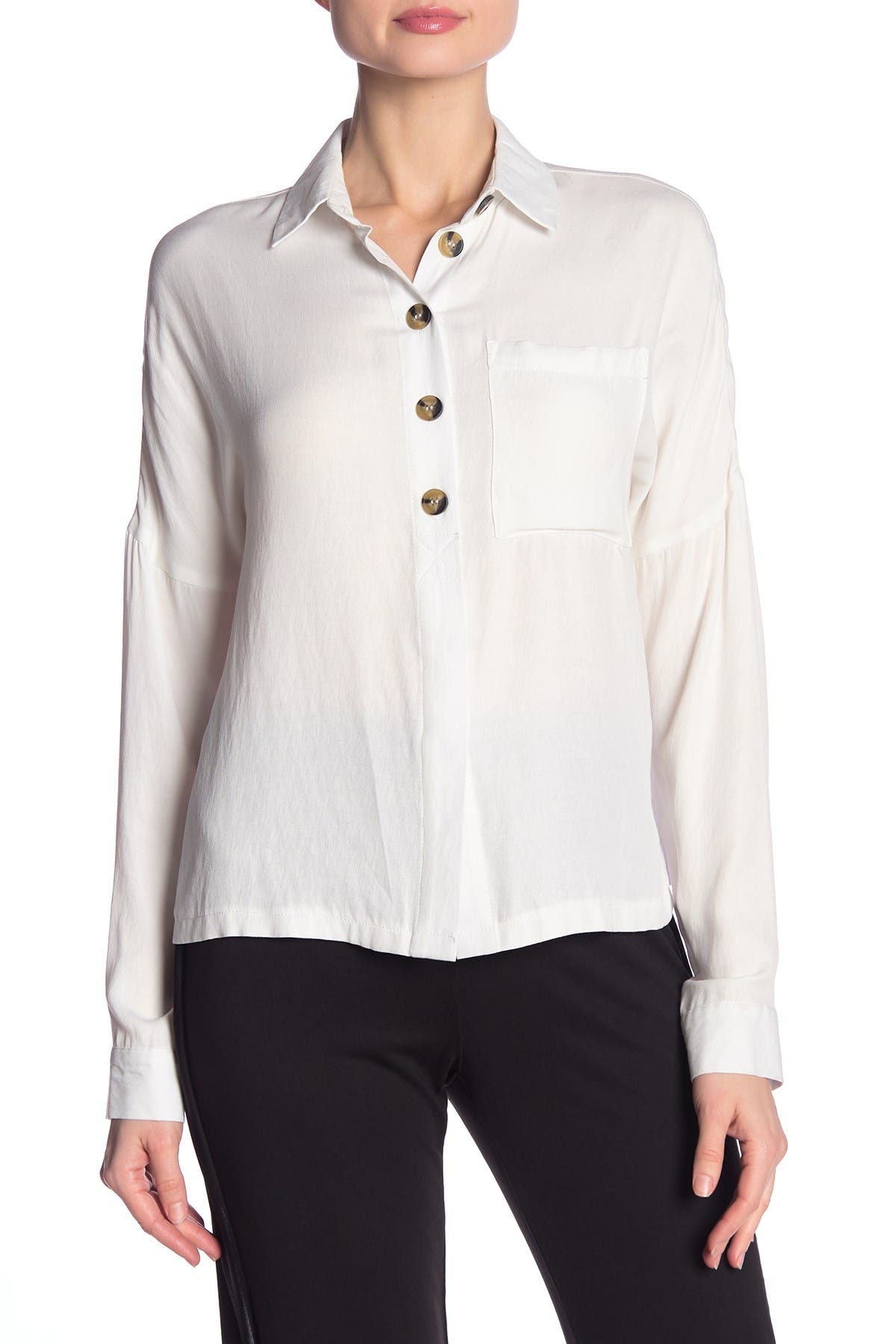 Image of Dress Forum Solid Button Front Shirt