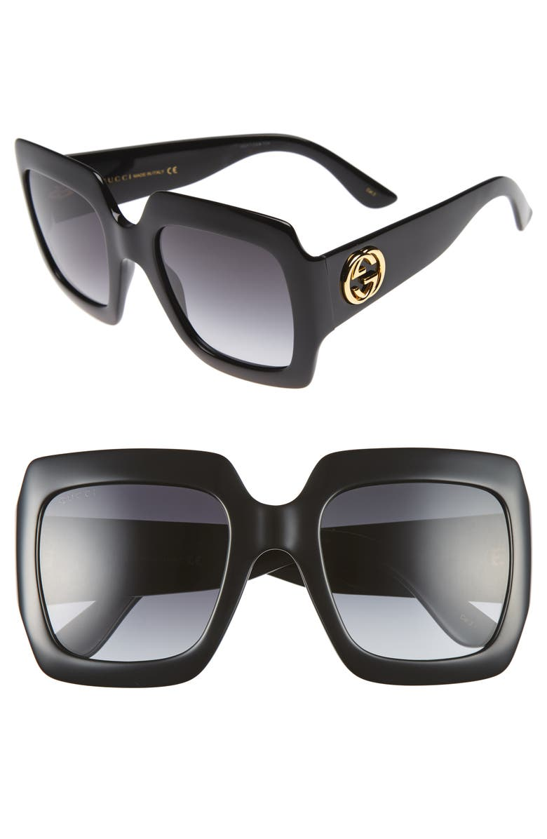 GUCCI 54mm Square Sunglasses, Main, color, BLACK/ GREY