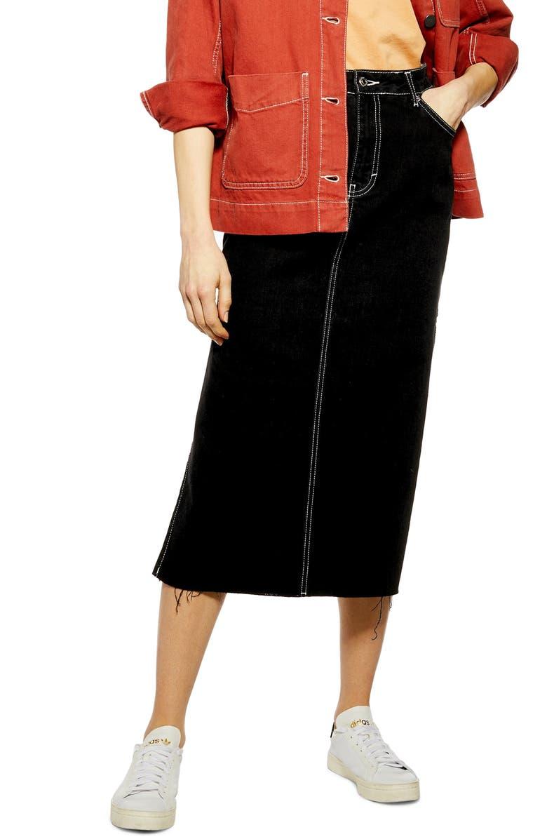 TOPSHOP Split Side Denim Midi Skirt, Main, color, 003