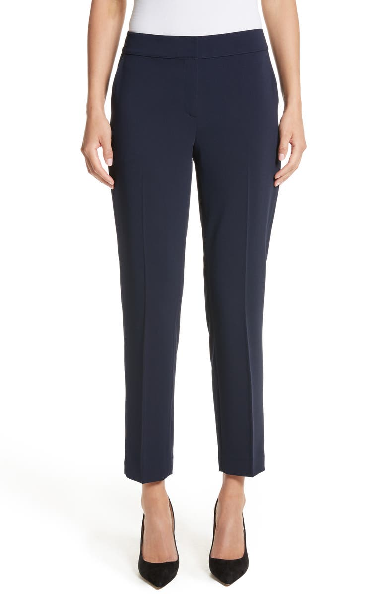 ST. JOHN COLLECTION Emma Classic Cady Pants, Main, color, NAVY