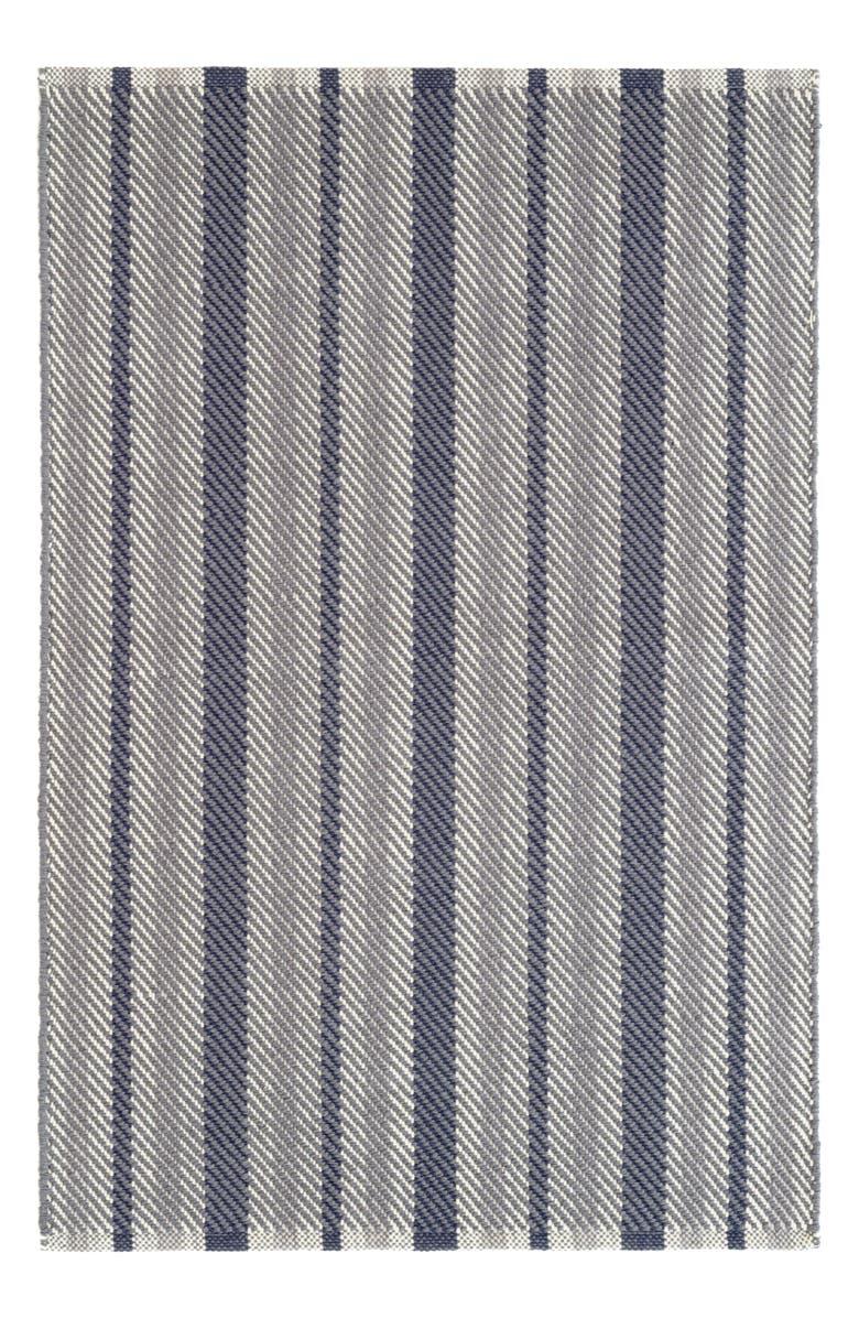 DASH & ALBERT Herringbone Stripe Woven Rug, Main, color, NAVY
