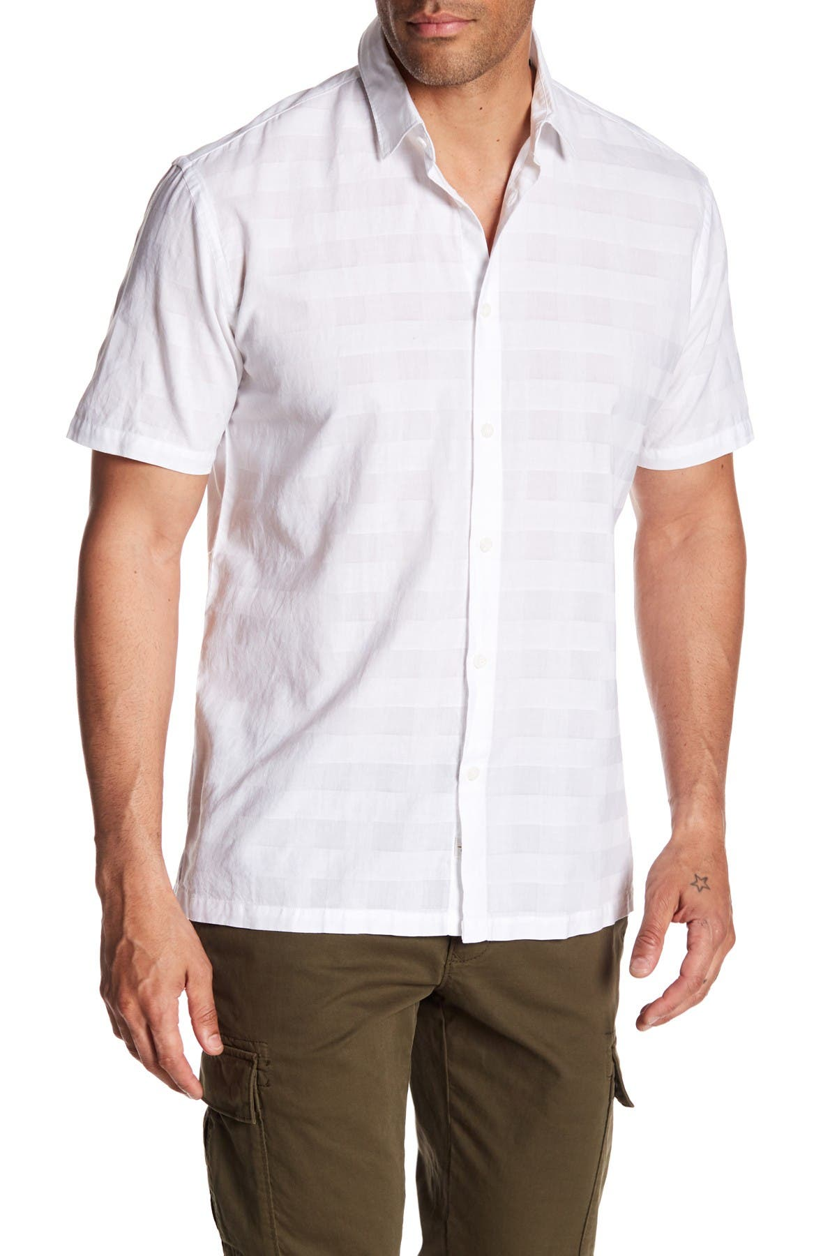 Image of COASTAORO Cristo Tonal Check Short Sleeve Slim Fit Shirt