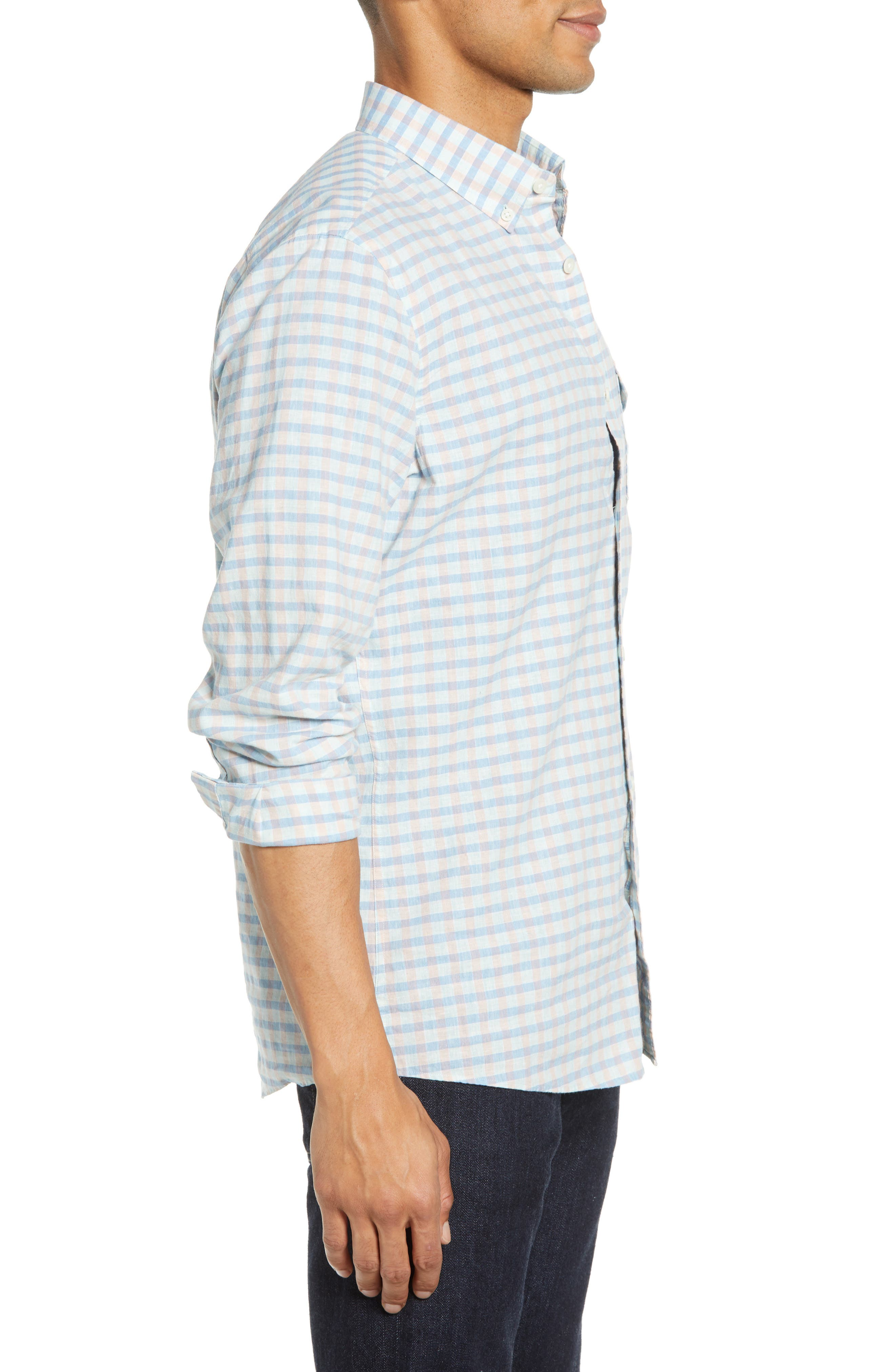 ,                             Ivy Heather Linen Blend Slim Fit Sport Shirt,                             Alternate thumbnail 4, color,                             TEAL FAIR BLUE GINGHAM