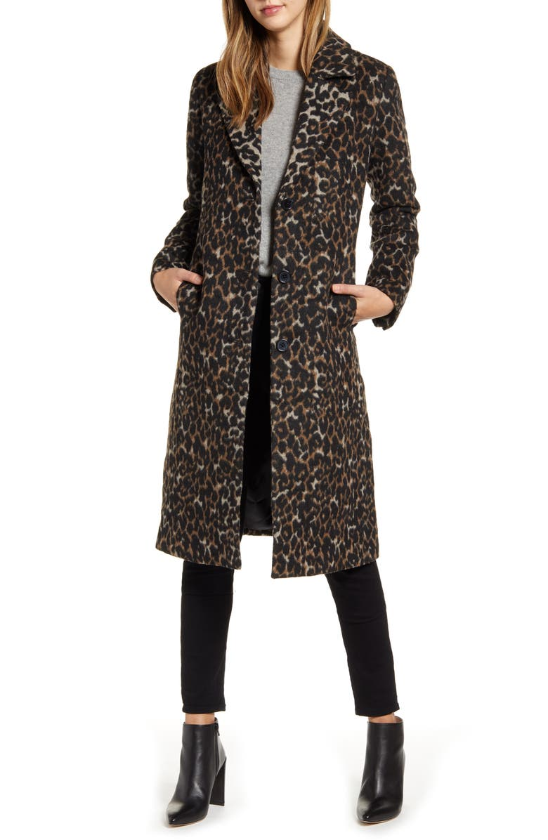 BERNARDO Leopard Print Coat, Main, color, BROWN LEOPARD