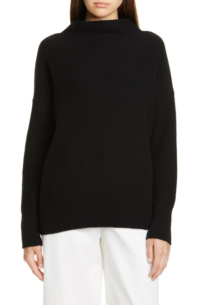 VINCE Boiled Cashmere Funnel Neck Pullover, Main, color, BLACK