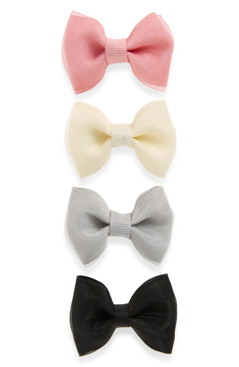 PLH BOWS 4-Pack Organza Bow Clips, Main, color, MULTI