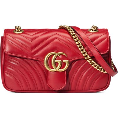 Gucci Small Matelasse Leather Shoulder Bag - Red