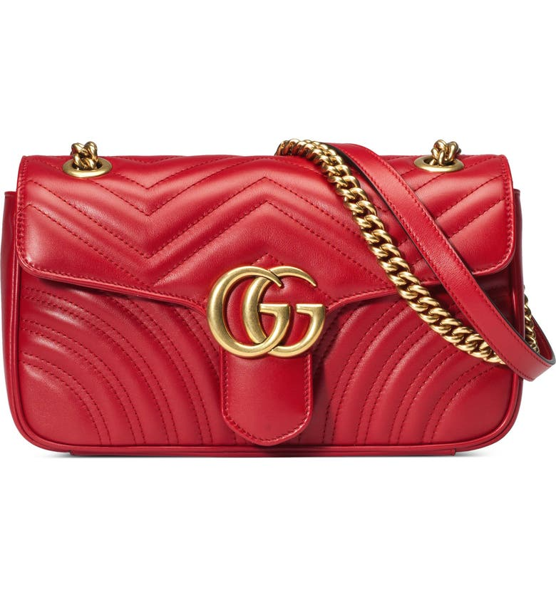 GUCCI Small Matelassé Leather Shoulder Bag, Main, color, HIBISCUS RED/ HIBISCUS RED