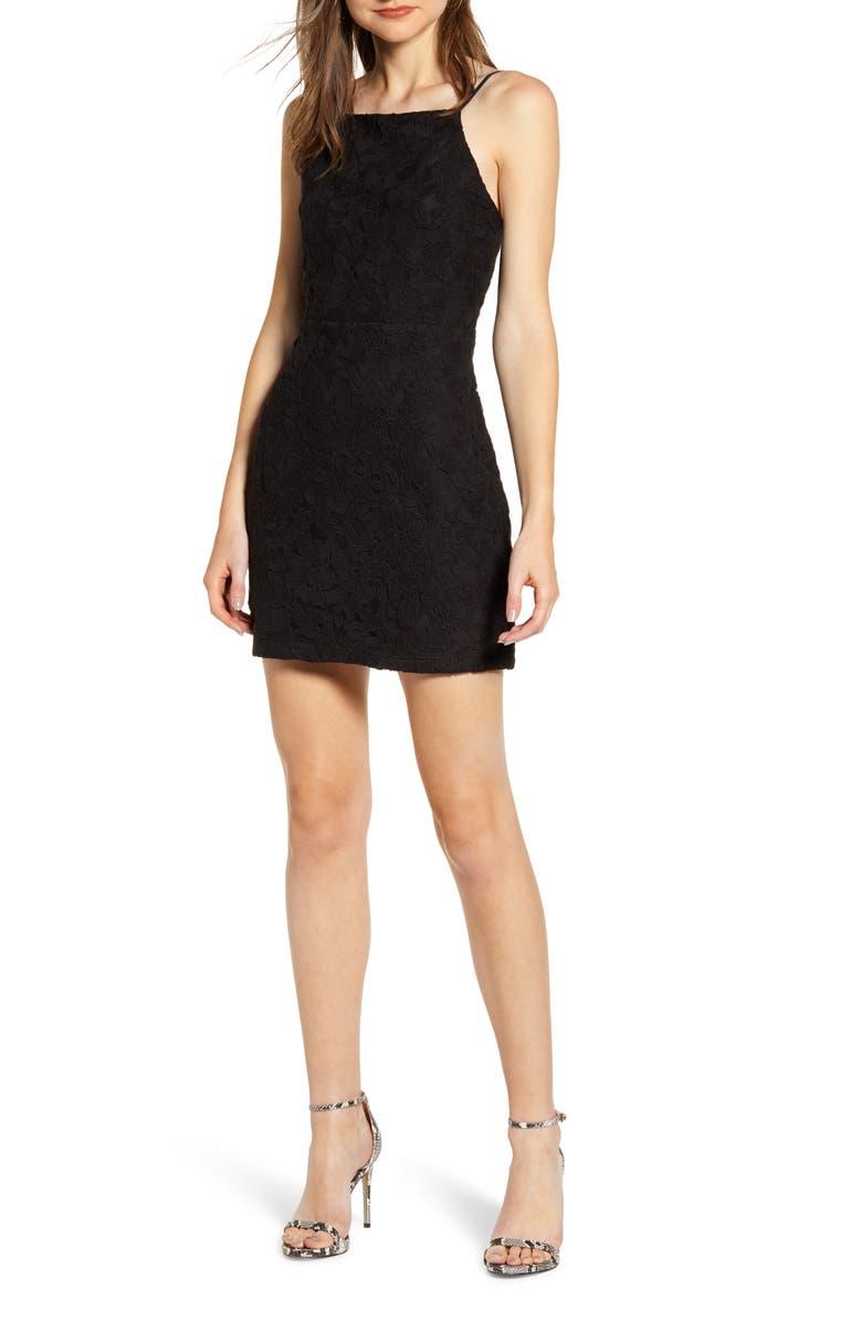 ENDLESS ROSE Cutout Back Minidress, Main, color, BLACK