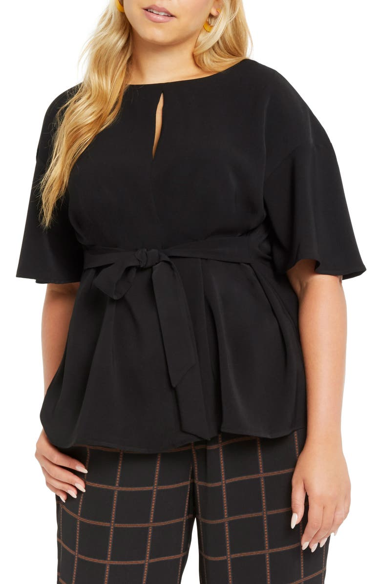 ELOQUII Tie Waist Short Sleeve Blouse, Main, color, BLACK