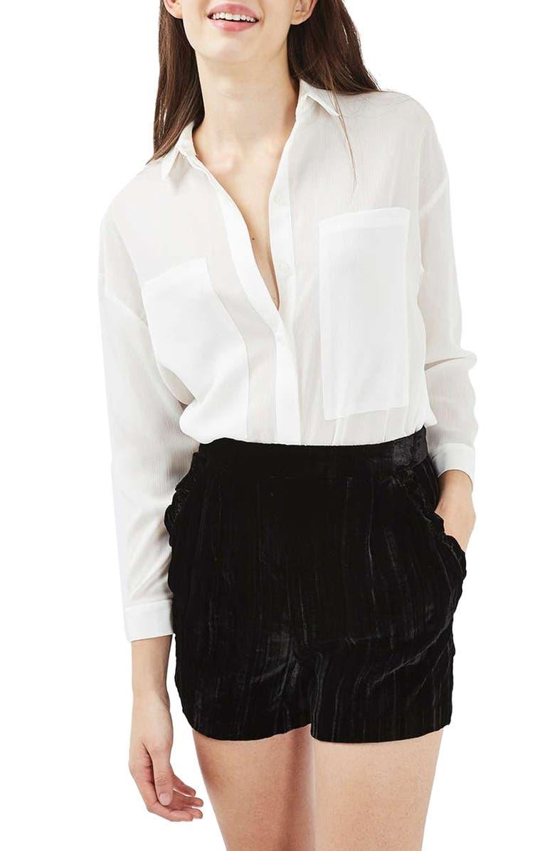 TOPSHOP Velvet Frill Shorts, Main, color, 001
