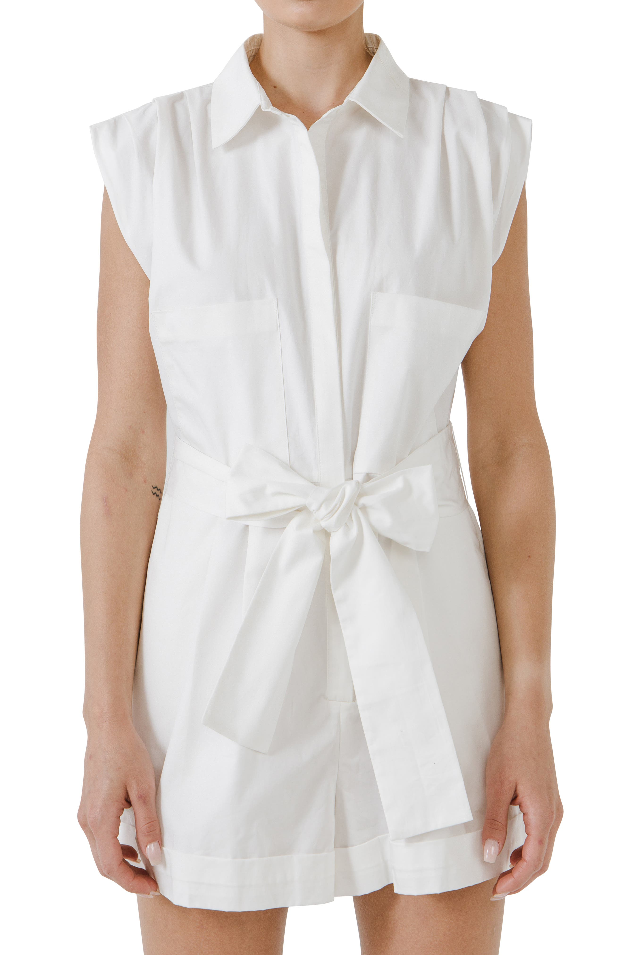 Ruched Collar Cotton Romper