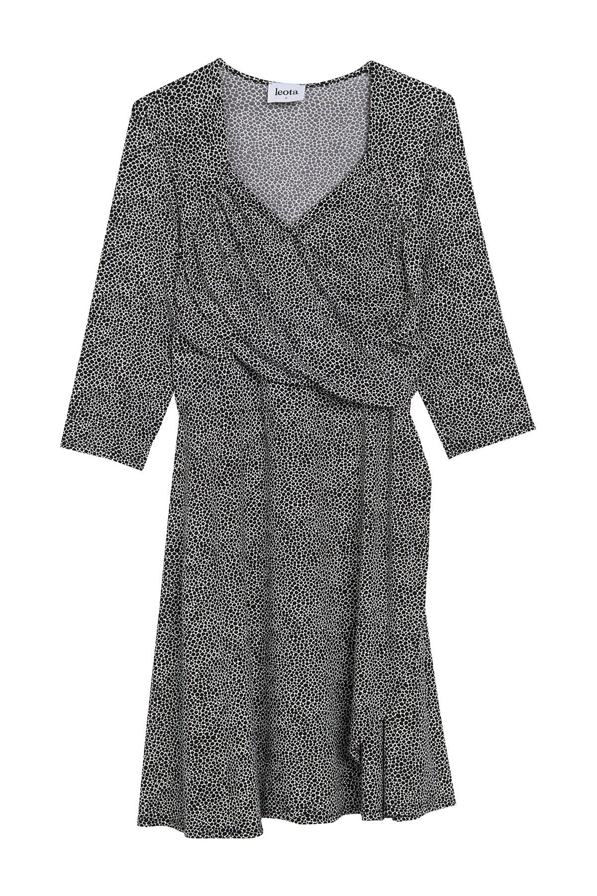 Image of Leota 3/4 Sleeve Sweetheart Mock Wrap Dress
