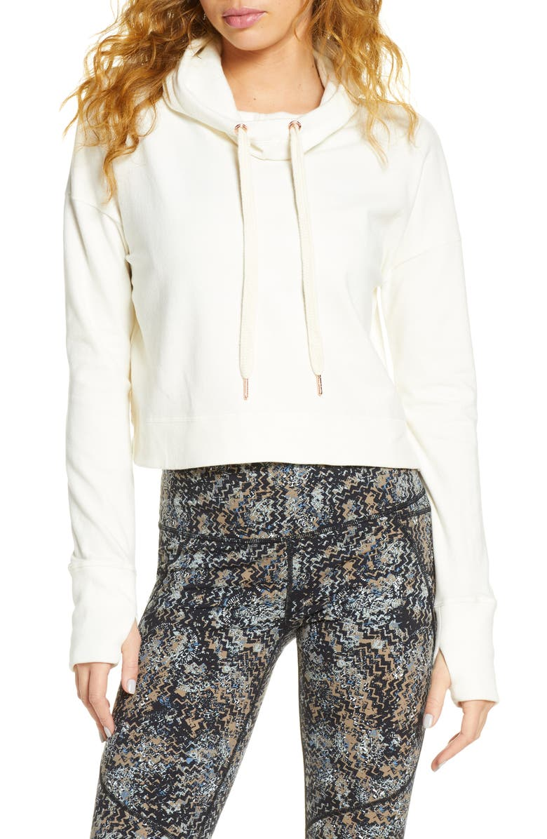 SWEATY BETTY Escape Luxe Crop Hoodie, Main, color, LILY WHITE