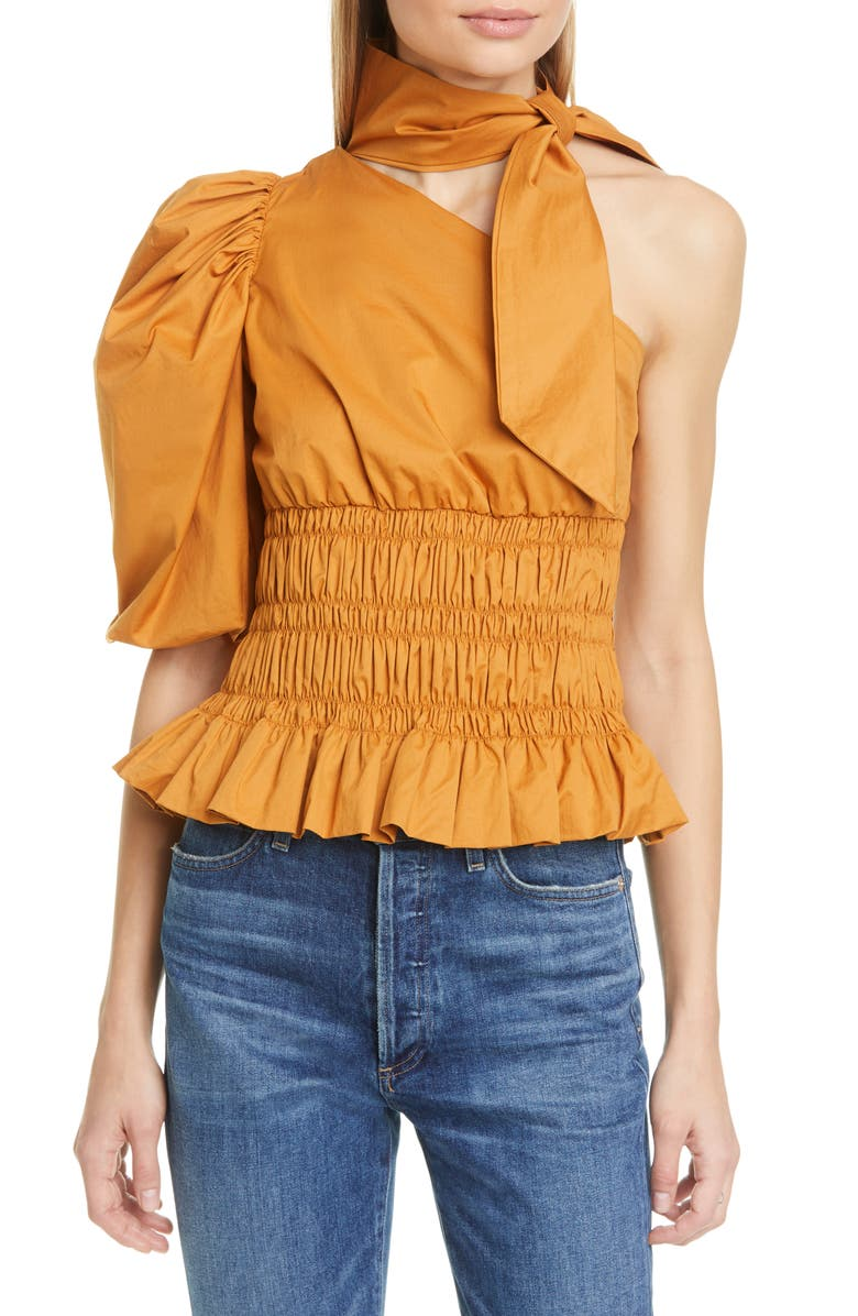 JOHANNA ORTIZ Tie Neck Stretch Cotton One-Shoulder Top, Main, color, 800