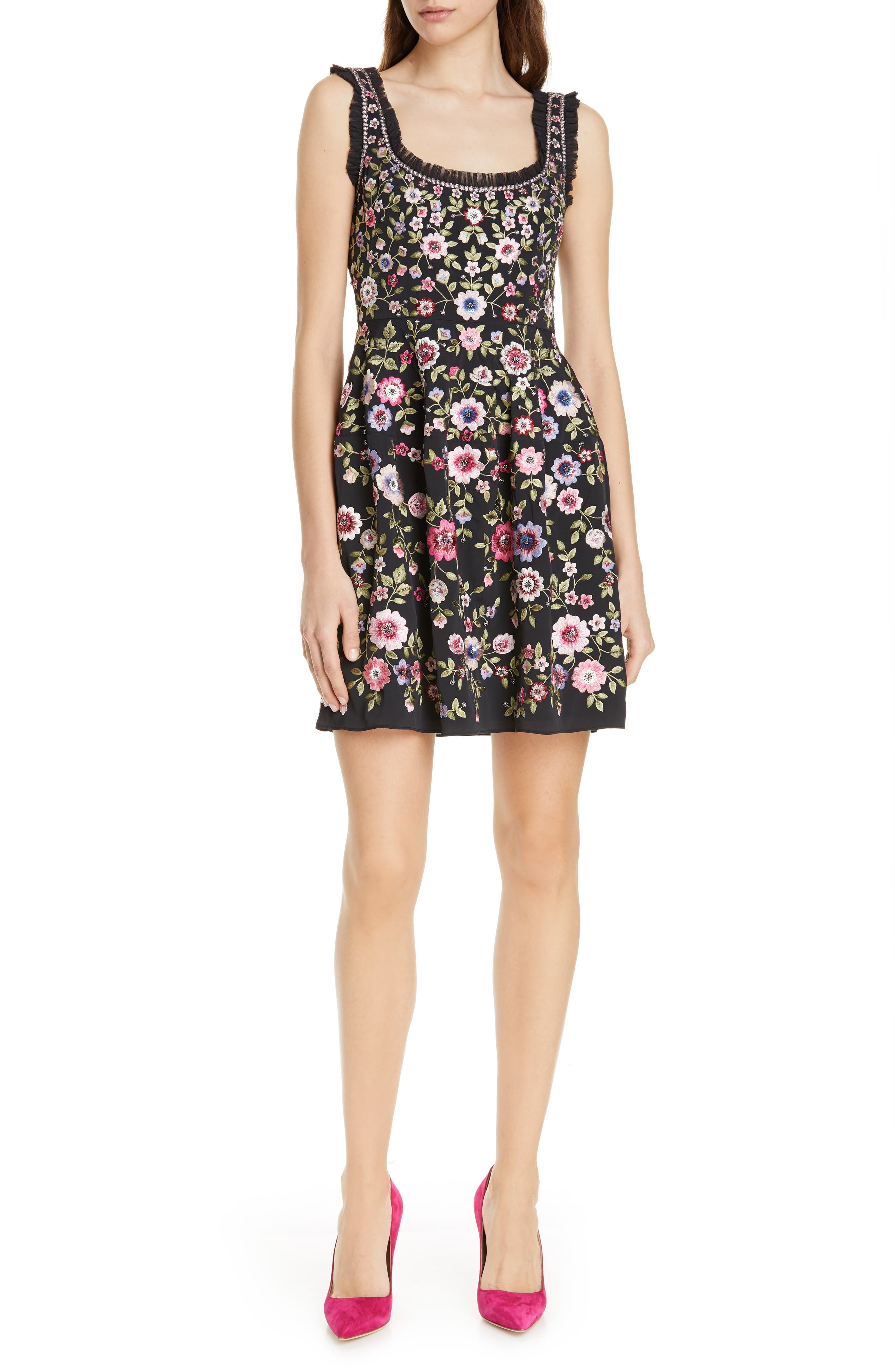 Needle & Thread Floral Romance Minidress, Black