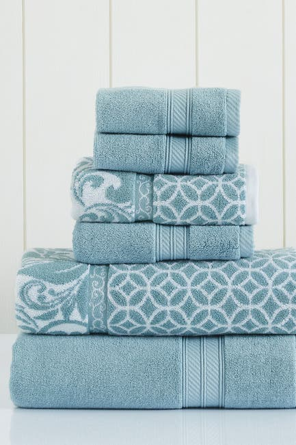 Image of Modern Threads Sterling Blue Trefoil Filigree Reversible Yarn-Dyed Jacquard 6-Piece Towel Set