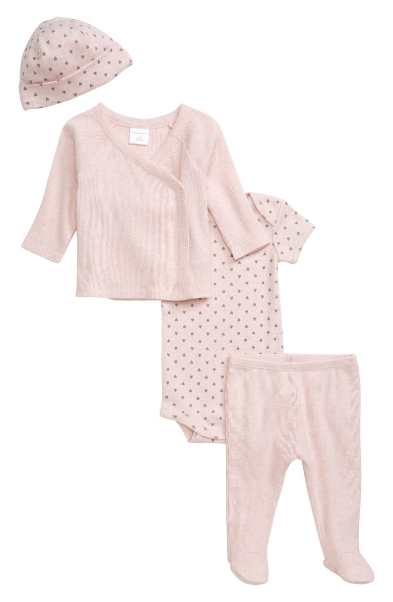 NORDSTROM BABY Take Me Home Bodysuit, Top, Footed Leggings & Hat Set, Main, color, PINK BABY HEATHER