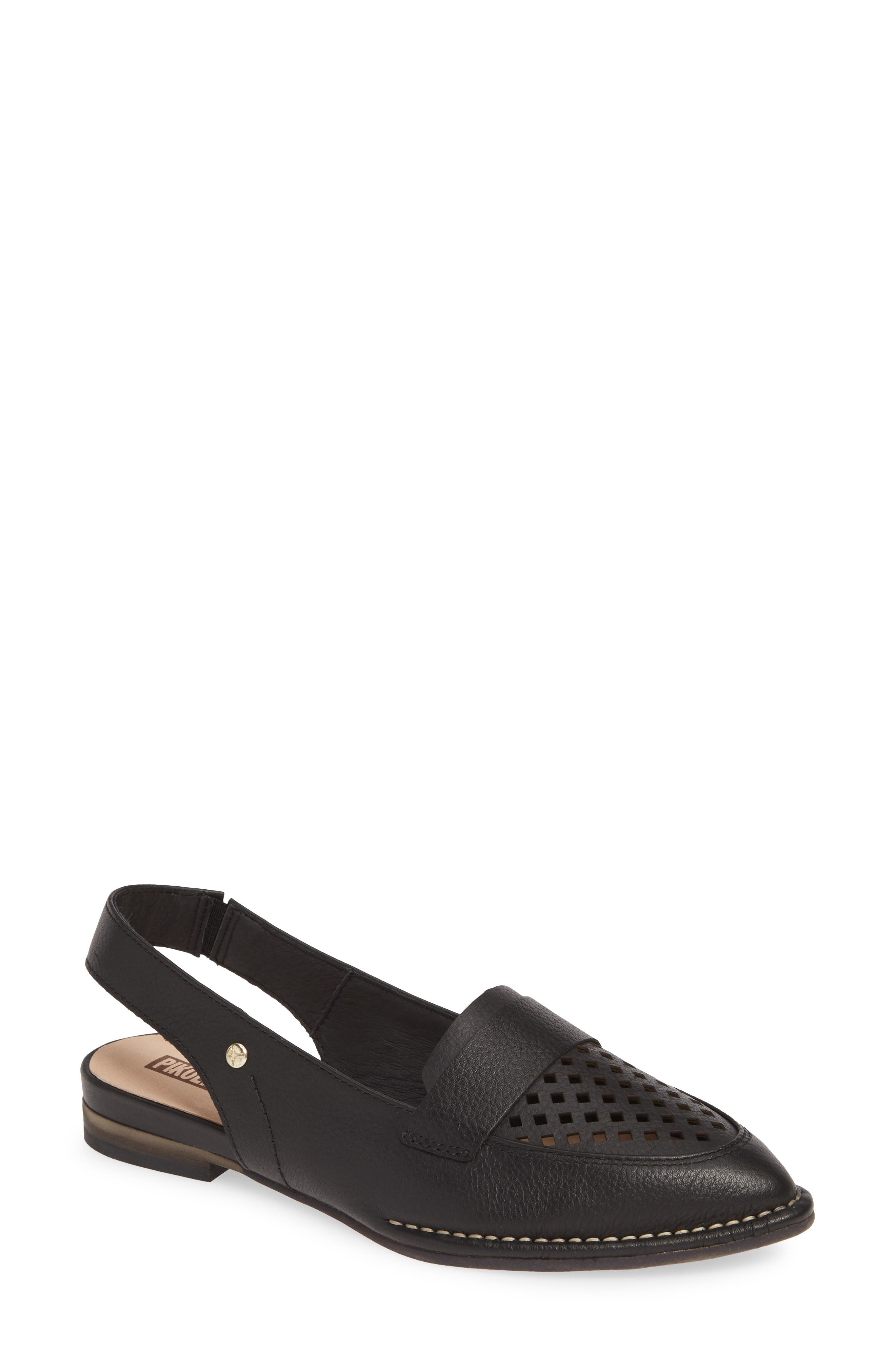 Pikolinos Caleta Perforated Slingback Flat, Black