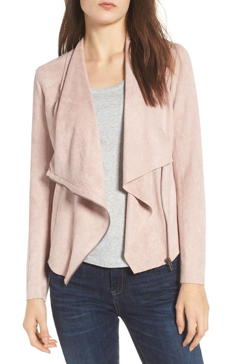 BLANKNYC Faux Suede Drape Front Jacket, Main, color, PINK ADOBE