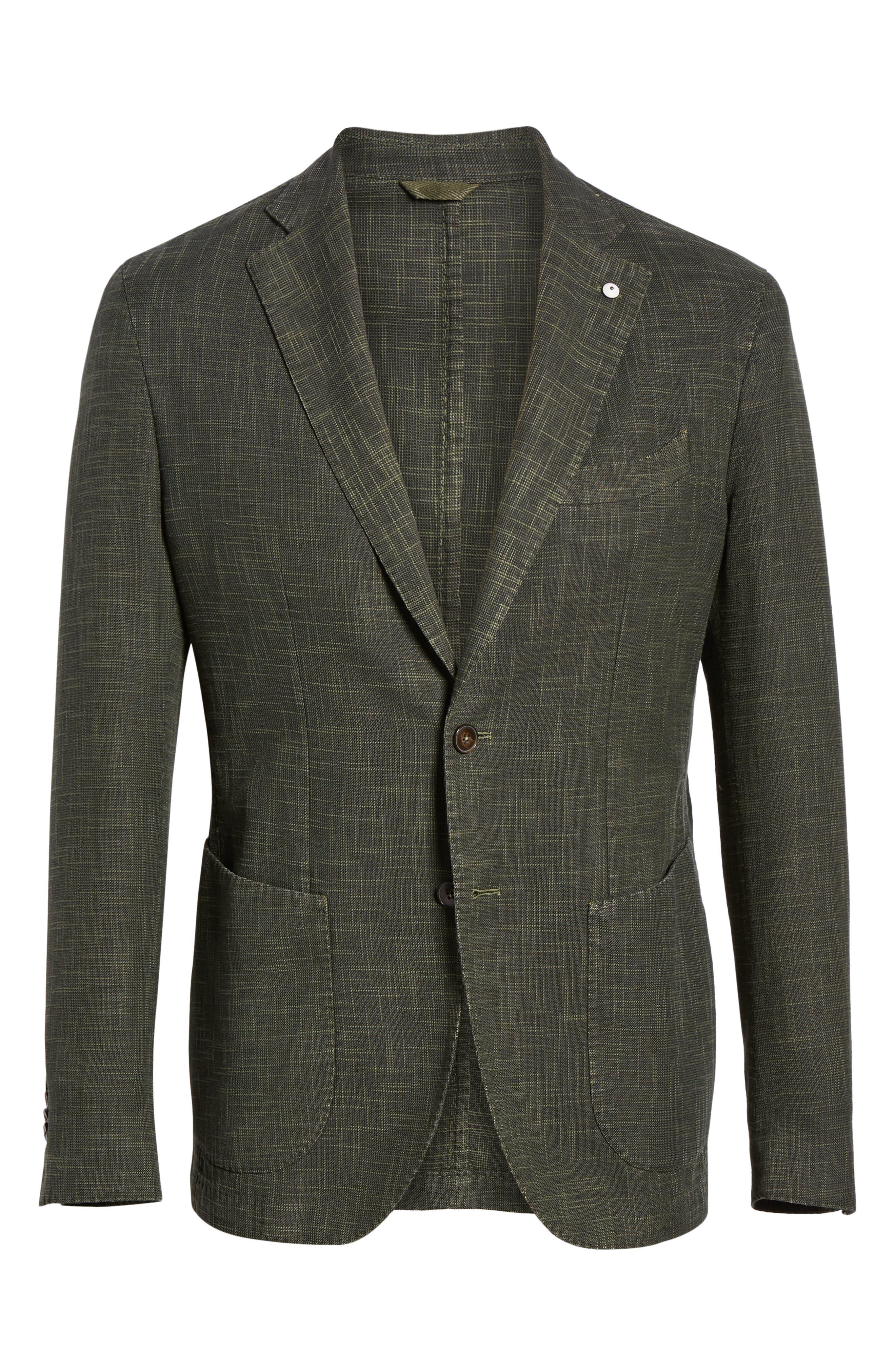 ,                             Trim Fit Cotton Blend Sport Coat,                             Alternate thumbnail 7, color,                             DARK GREEN
