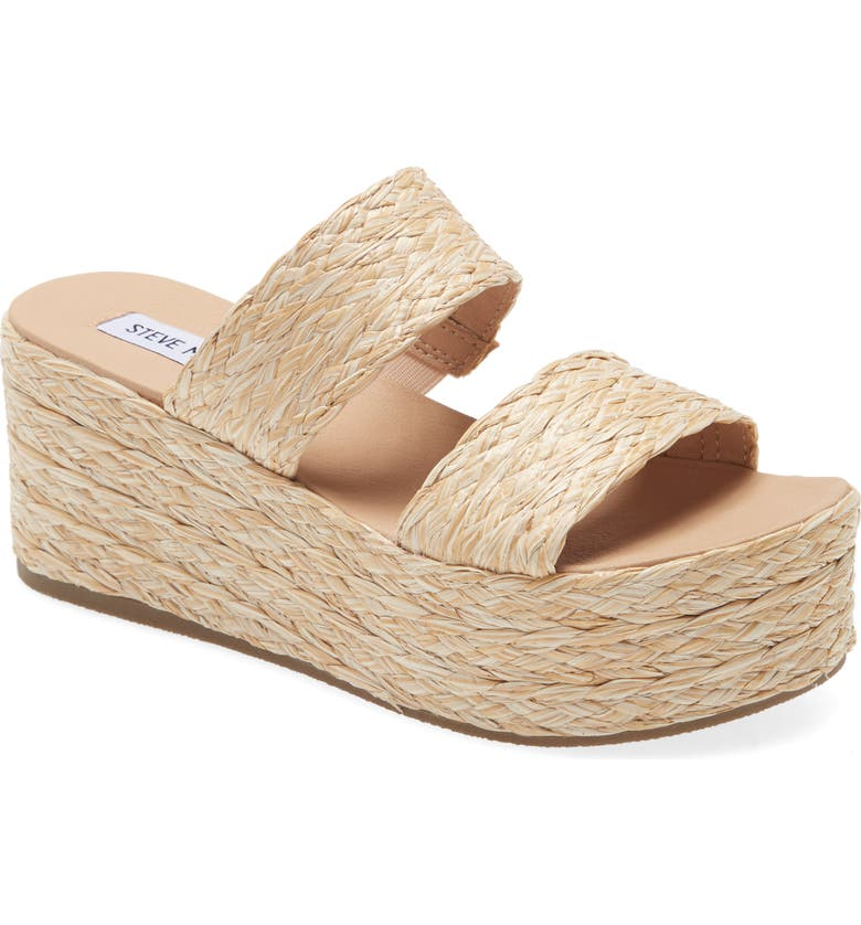 STEVE MADDEN Jolted Platform Wedge Sandal, Main, color, NATURAL RAFFIA