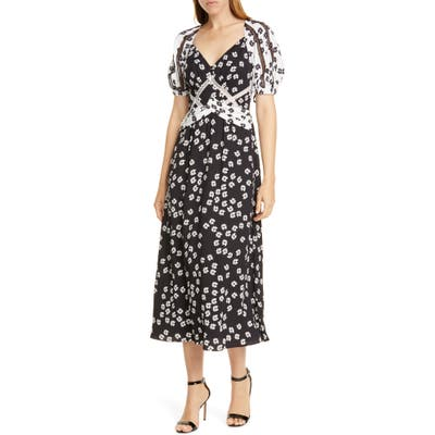 Self-Portrait Daisy Print Puff Sleeve Midi Dress, Black