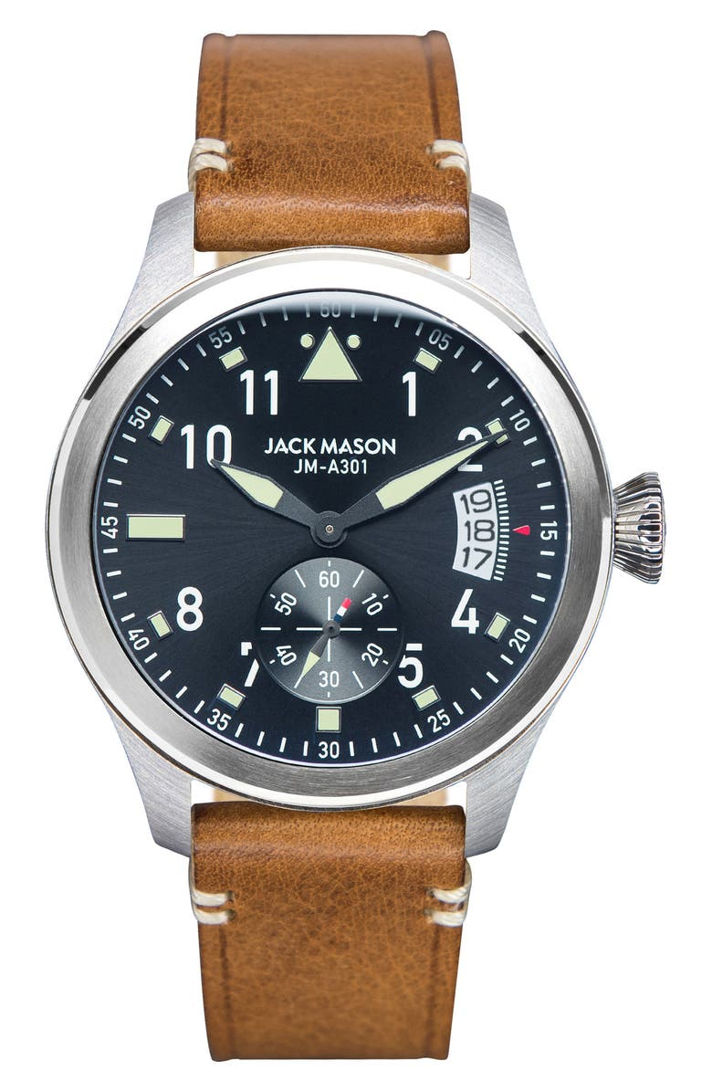 JACK MASON Aviation Leather Strap Watch, 45mm, Main, color, 200