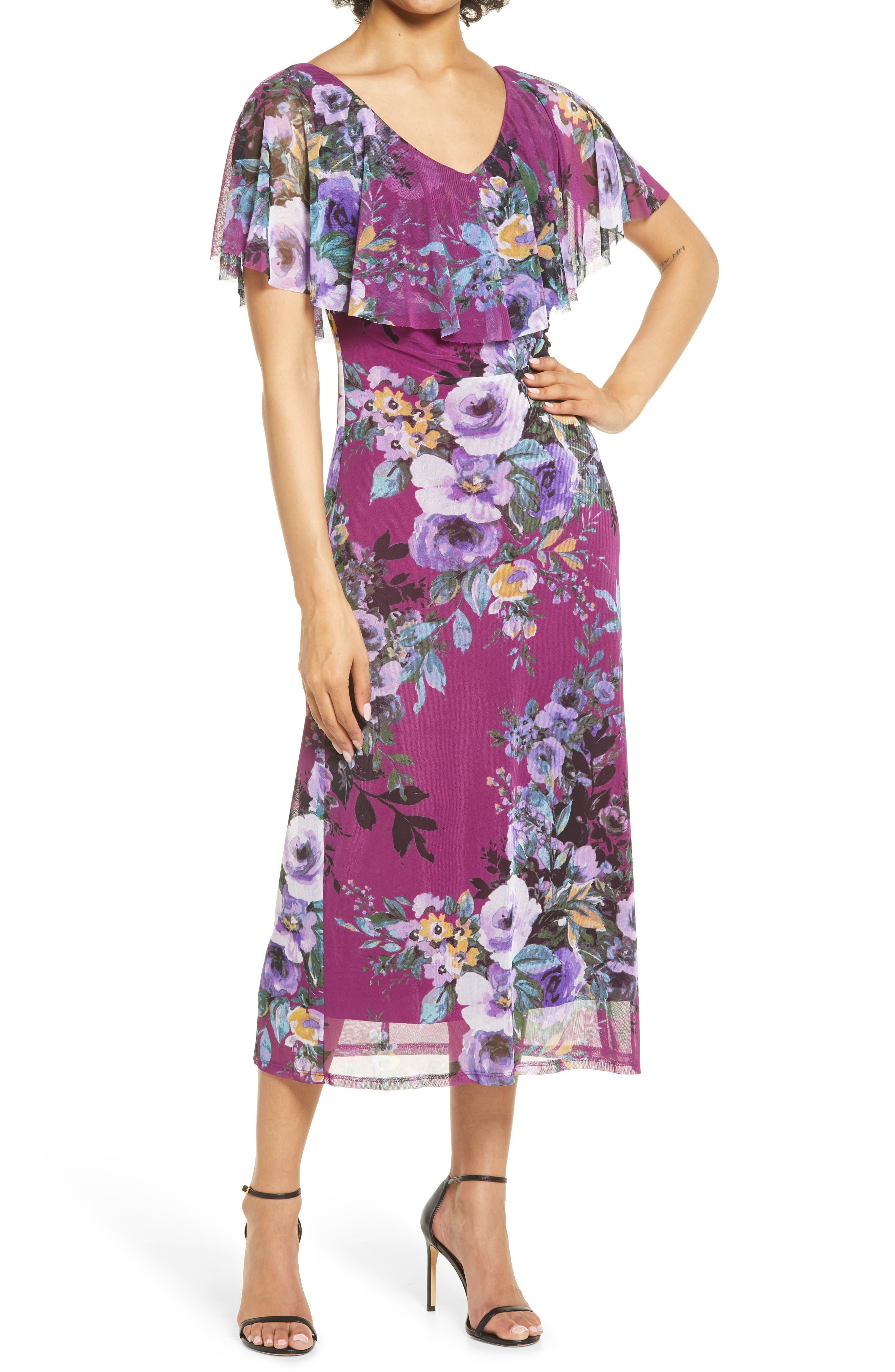 Flutter Sleeve V-Neck Midi Dress