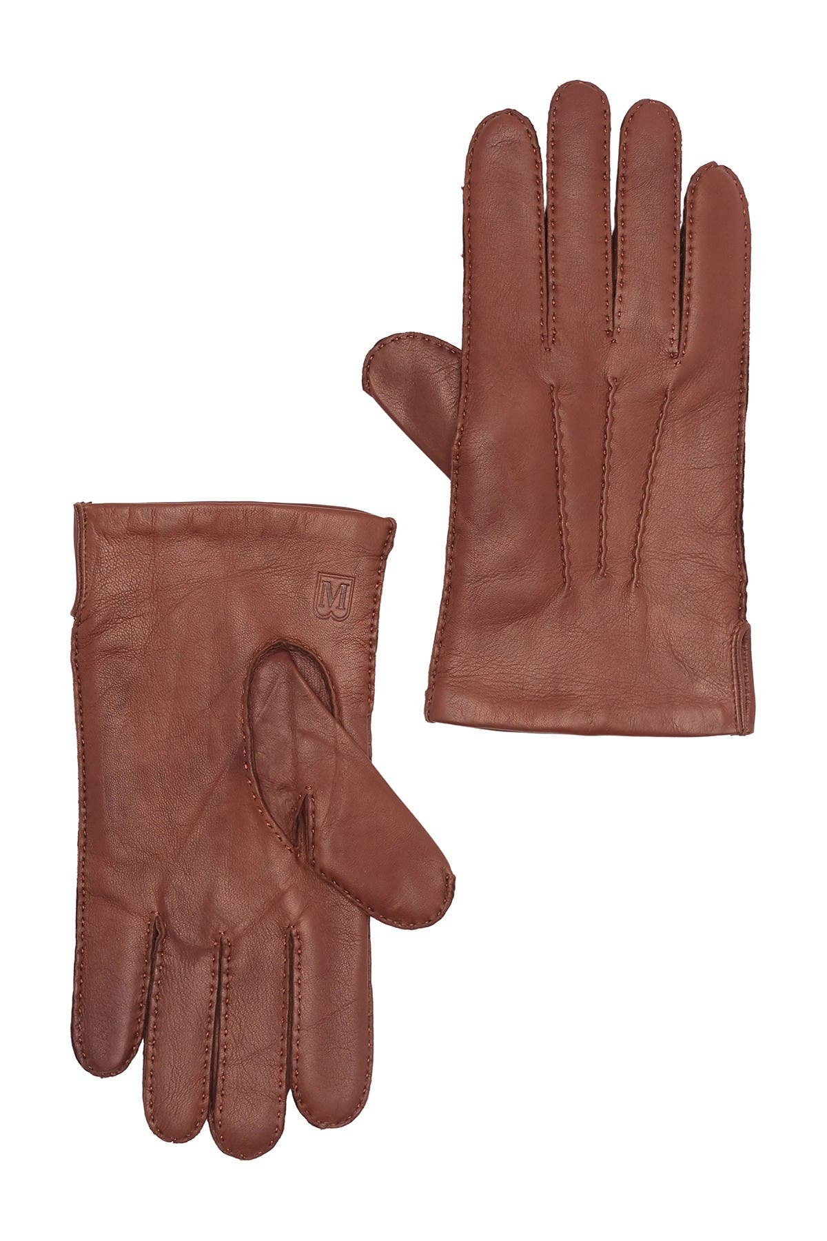 Image of Bruno Magli Cashmere Lined Hand Stitch Leather Gloves