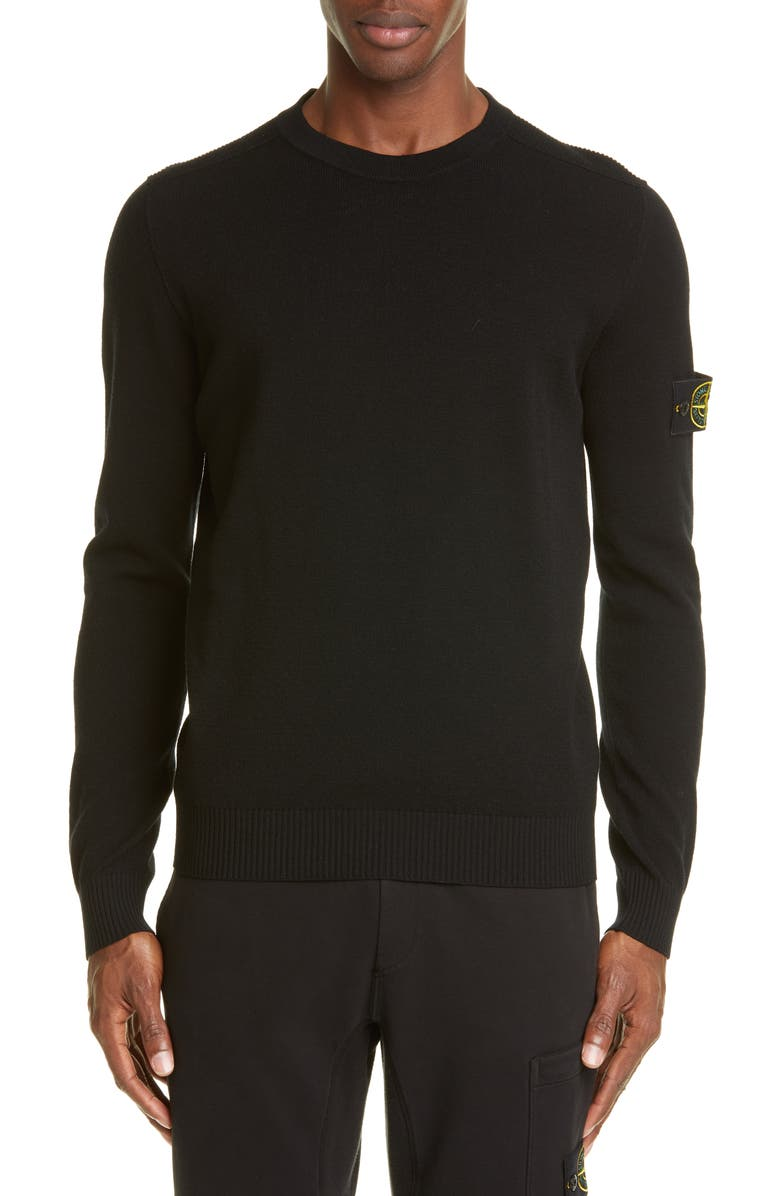 STONE ISLAND Logo Patch Wool Blend Sweatshirt, Main, color, V0029 BLACK