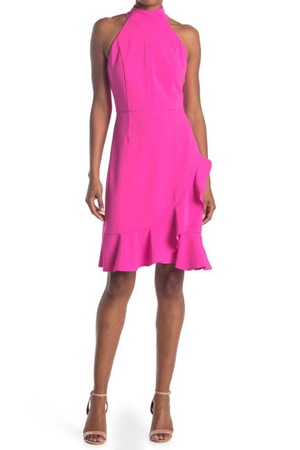 Image of Donna Morgan Stretch Knit Crepe Halter Neck Dress