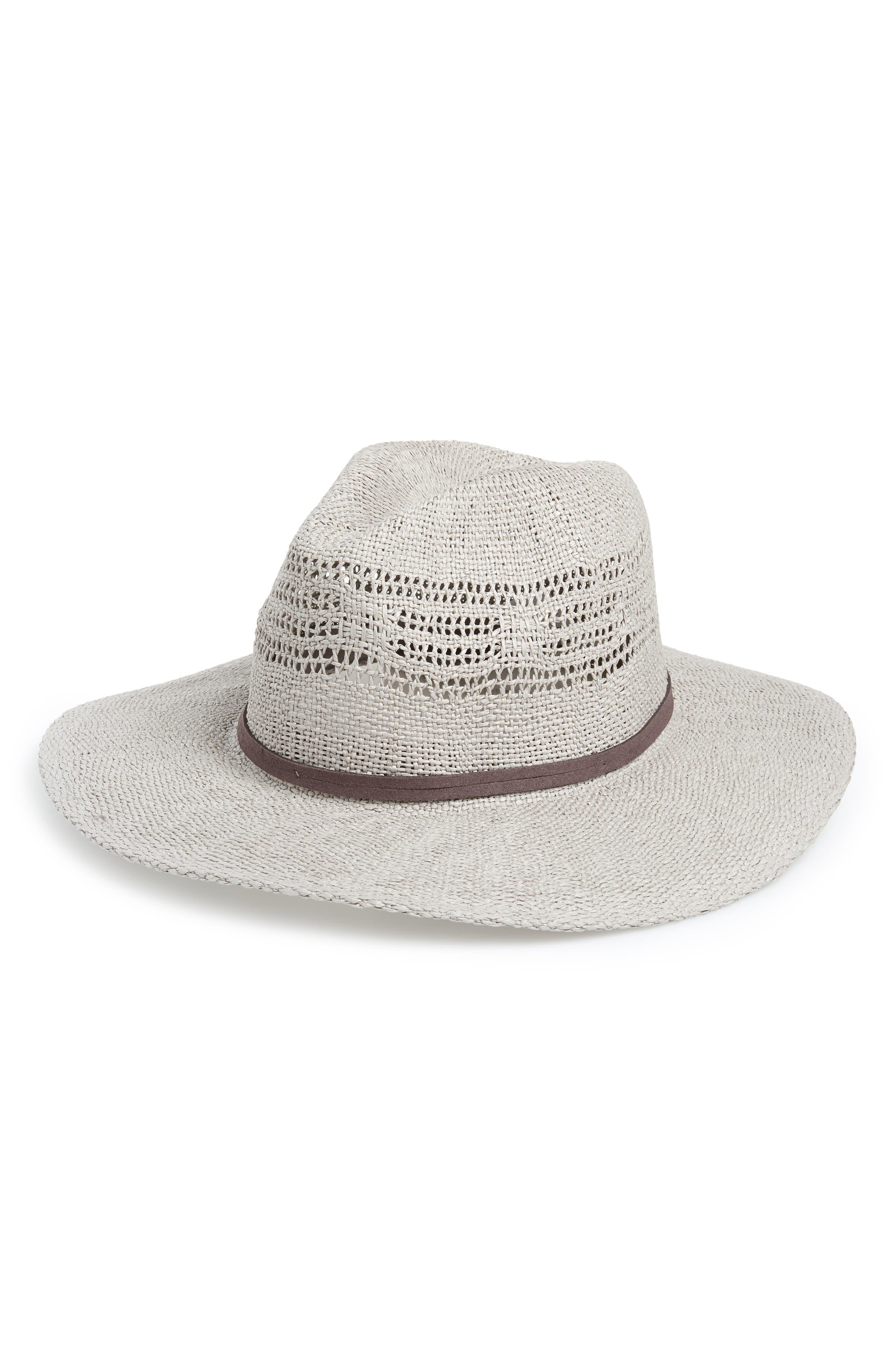 Open Weave Panama Hat, Main, color, GREY