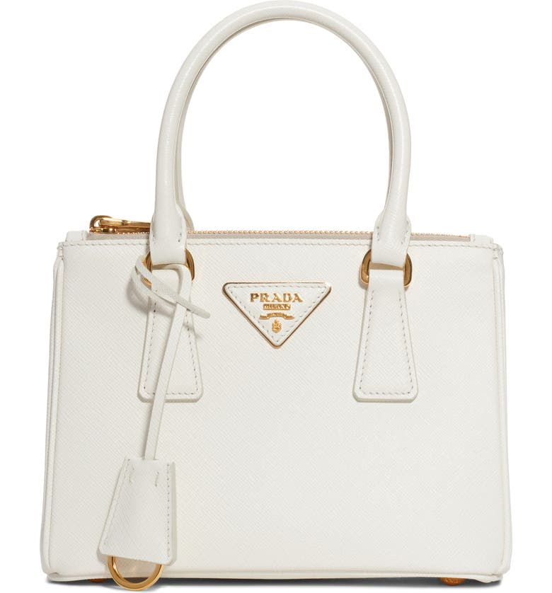PRADA Mini Galleria Saffiano Leather Satchel, Main, color, BIANCO