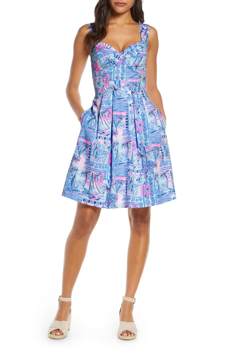 LILLY PULITZER<SUP>®</SUP> Cyndi Fit & Flare Sundress, Main, color, WHISPER BLUE YEAH BUOY