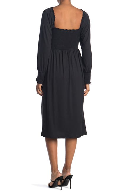 Image of Velvet Torch Long Sleeve Smocked Midi Dress