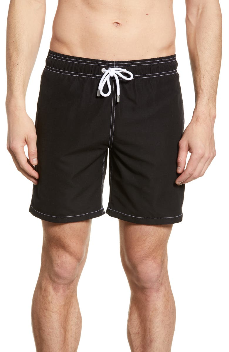 BUGATCHI Solid Swim Trunks, Main, color, BLACK