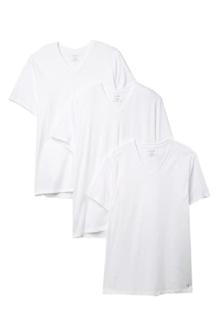 Image of Calvin Klein Cotton V-Neck Classic Fit T-Shirt - Pack of 3