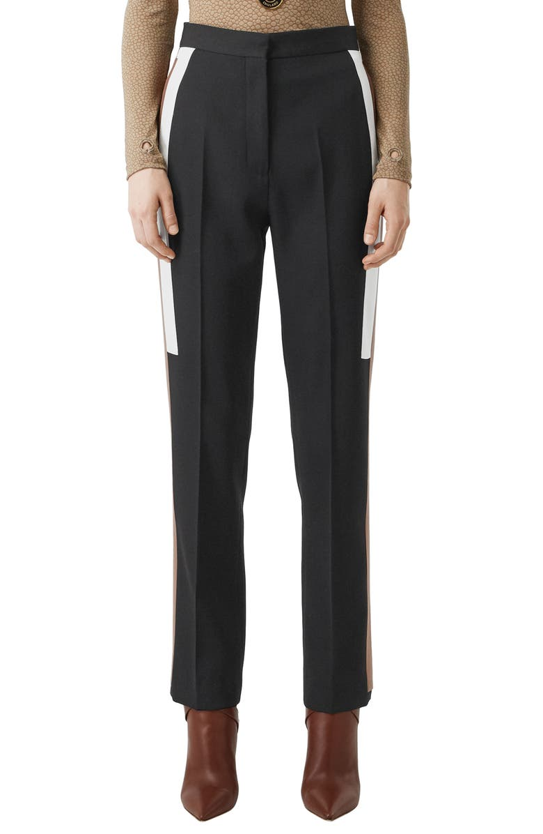 BURBERRY Side Stripe Wool Trousers, Main, color, BLACK
