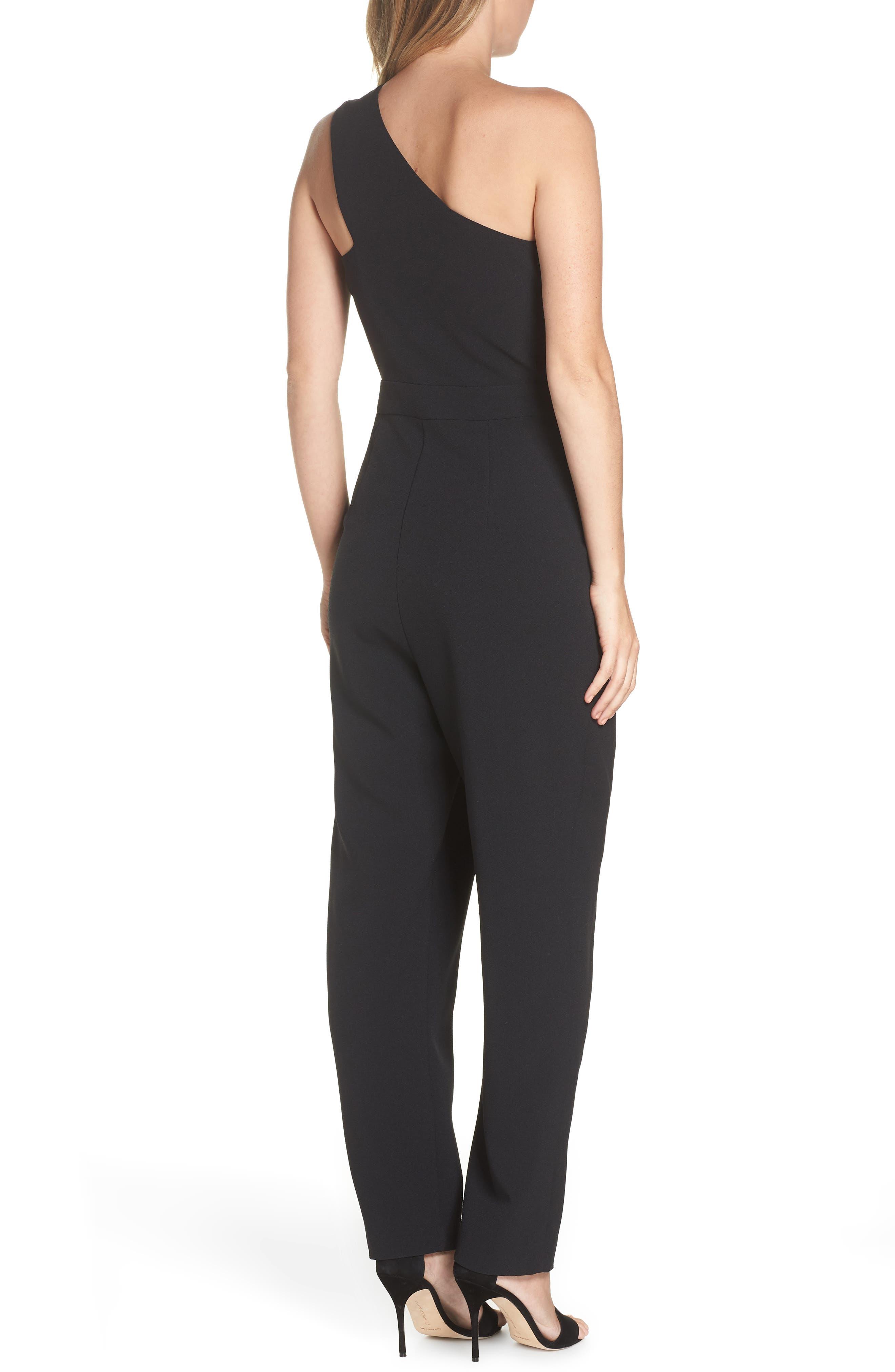 ,                             One-Shoulder Jumpsuit,                             Alternate thumbnail 2, color,                             BLACK