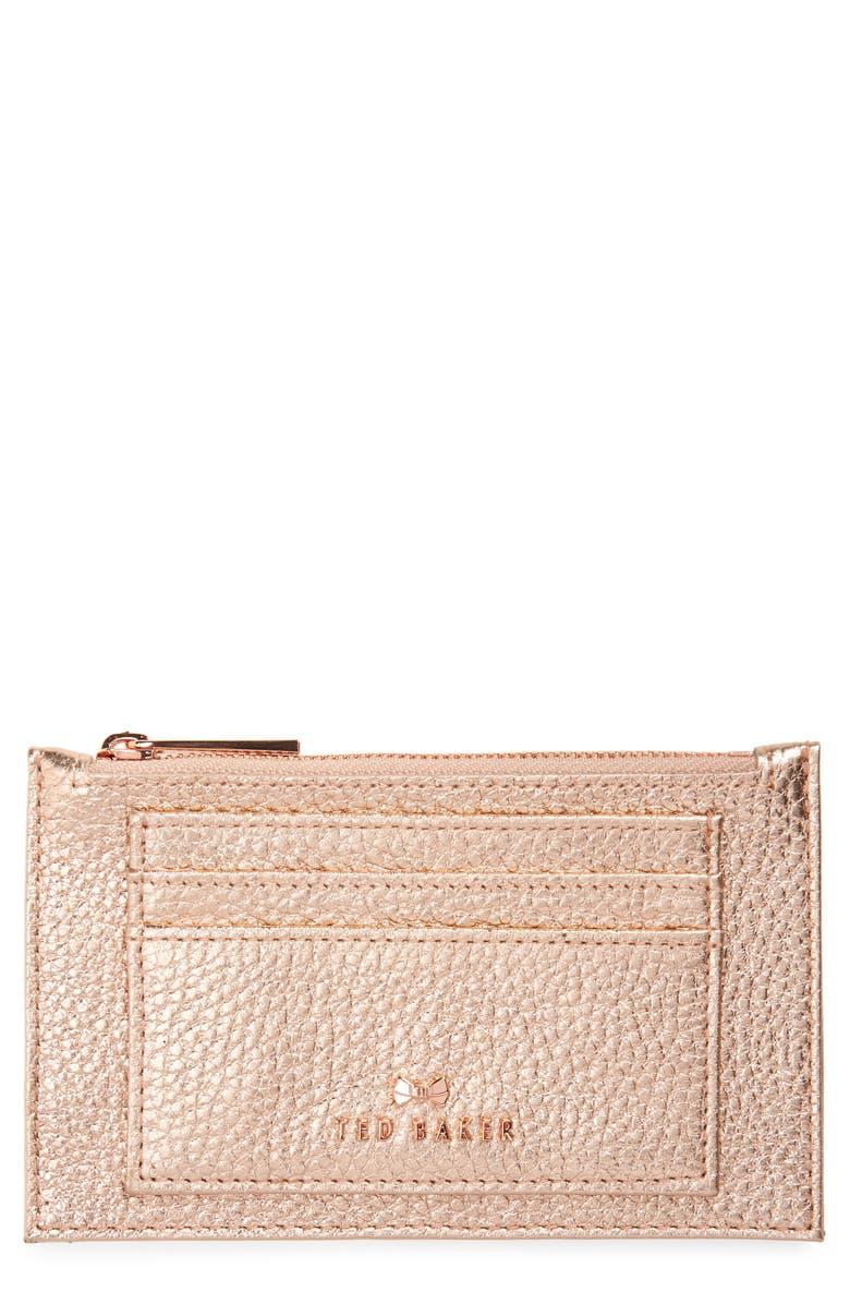 TED BAKER LONDON Yarro Leather Card Holder, Main, color, ROSE GOLD