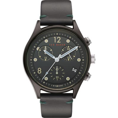 Ted Baker London Beleeni Chronograph Leather Strap Watch, 42Mm