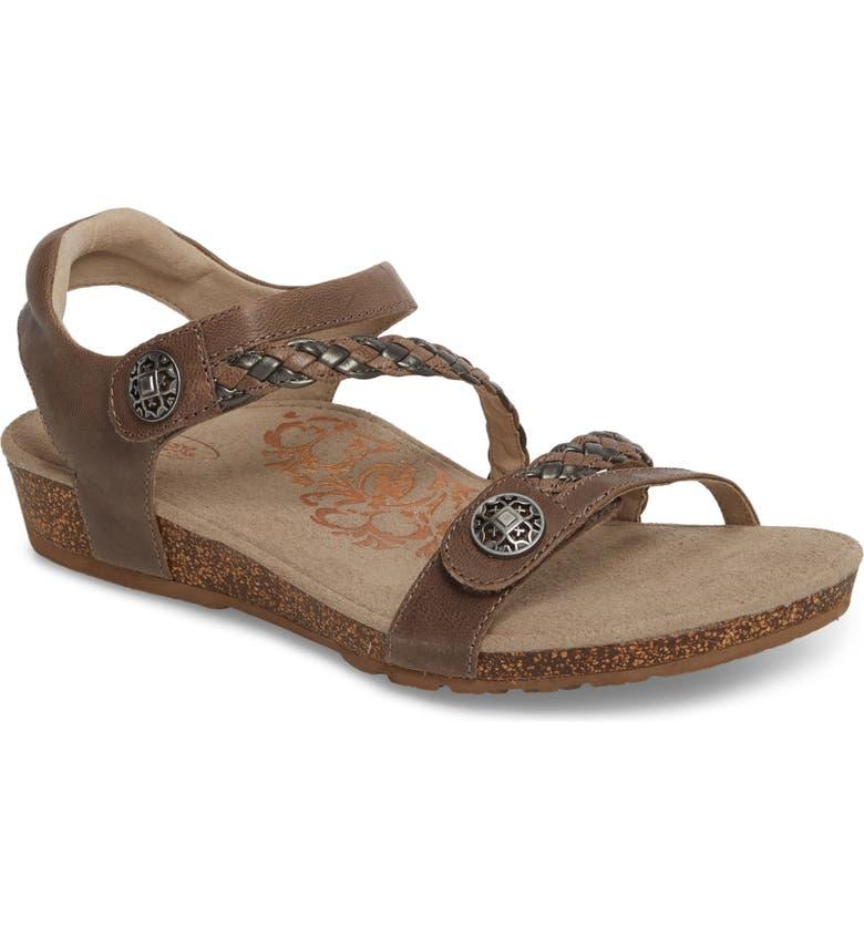 AETREX 'Jillian' Braided Leather Strap Sandal, Main, color, GREY LEATHER