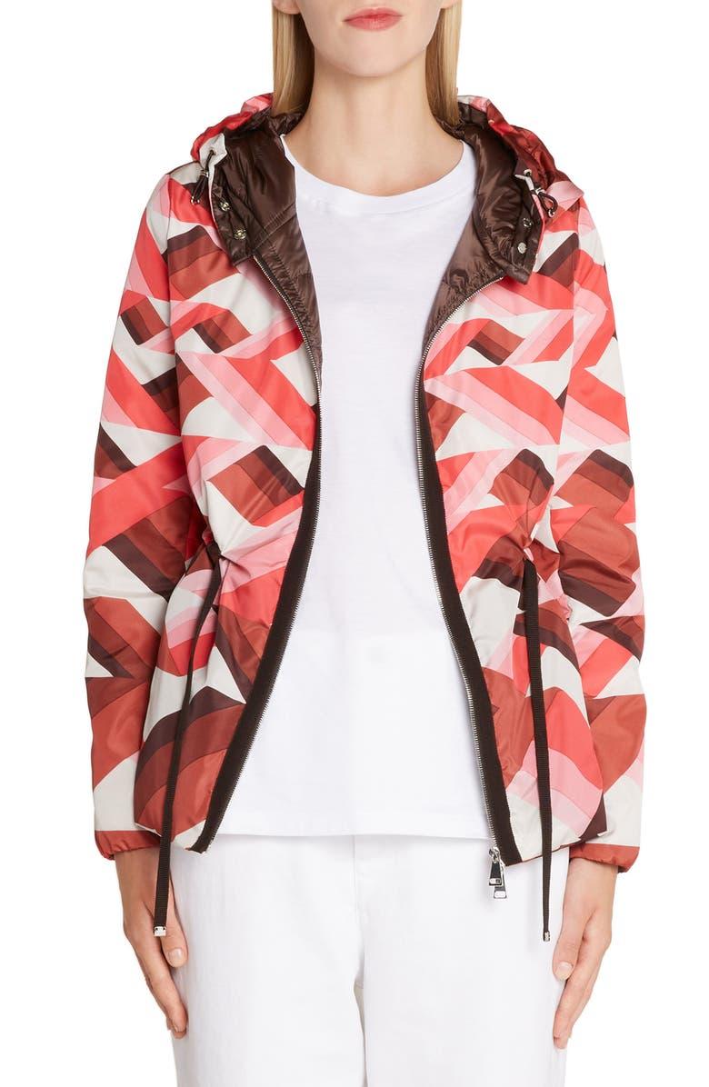 MONCLER Raief Print Hooded Down Coat, Main, color, 690