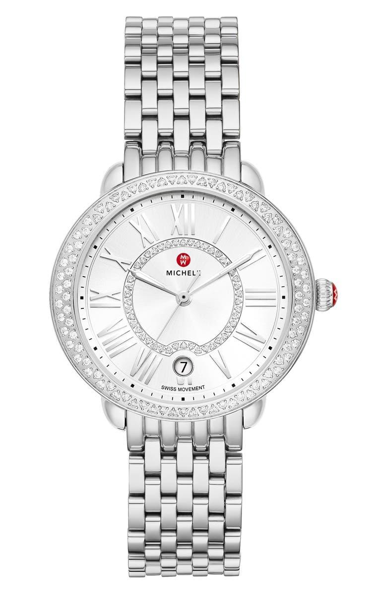 MICHELE Serein Mid Diamond Watch Head & Bracelet, 36mm x 34mm, Main, color, SILVER