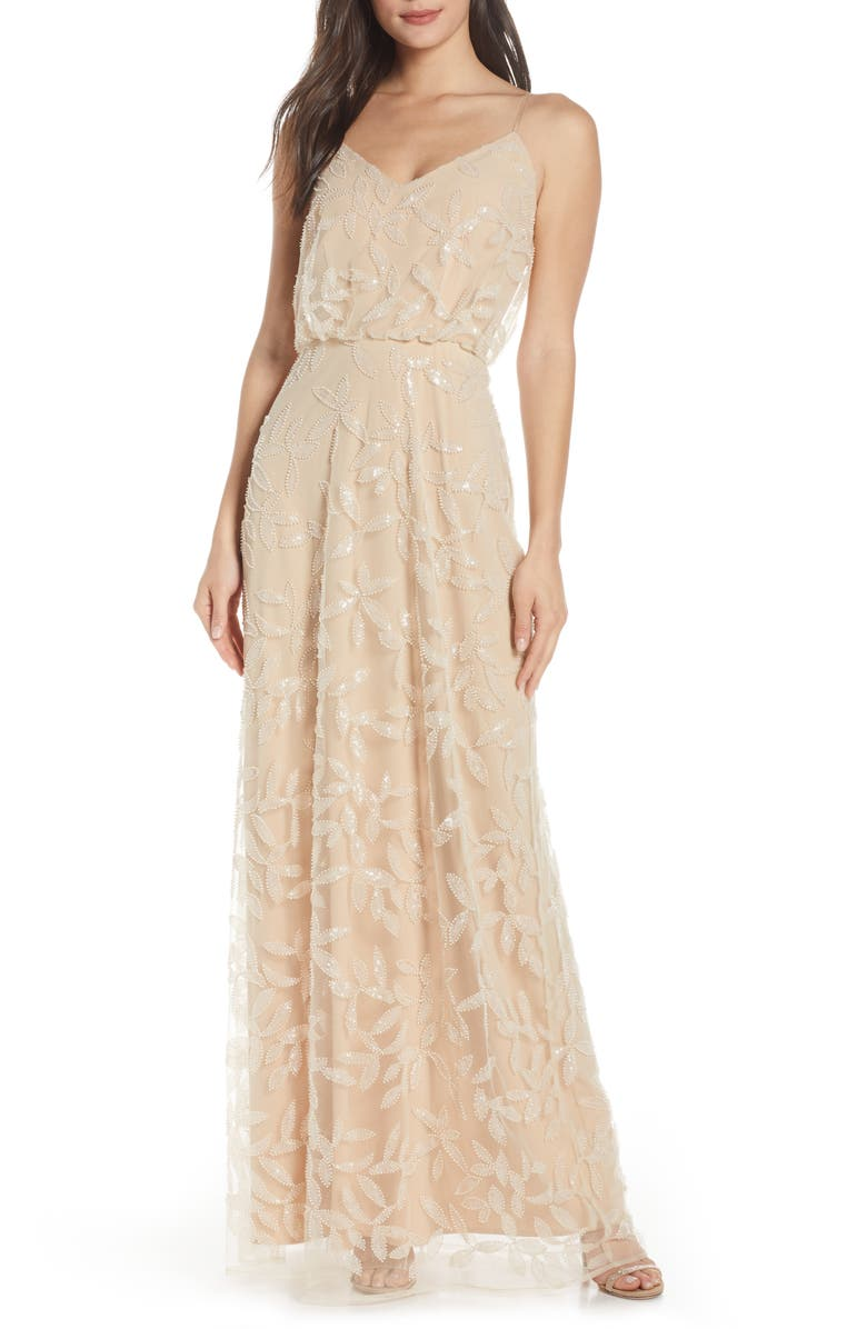 The Savannah Blouson Beaded Mesh Evening Dress by Wayf