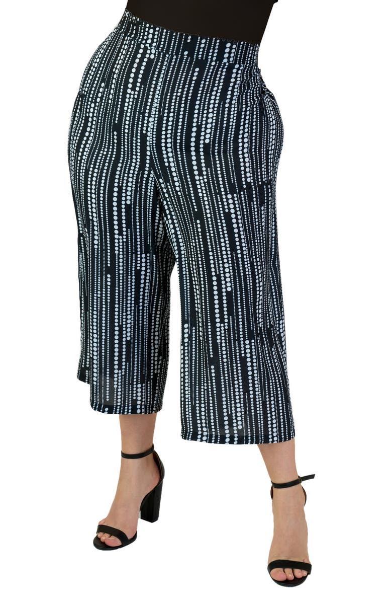 MARÉE POUR TOI Dot Print Wide Leg Crop Pants, Main, color, BLACK WHITE
